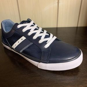 NEW Original Penguin Navy Bruce Leather Sneakers